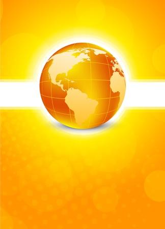 sunbeams background: Bright orange background with globe Stock Photo