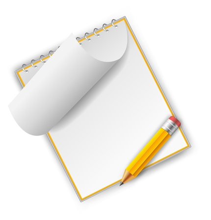 Orange notepad with pencil isolated on white Stock Photo - 12727410