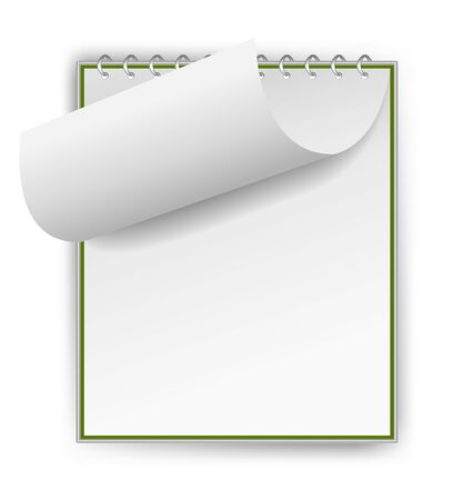 Green notepad with bent sheet Stock Photo - 12727402