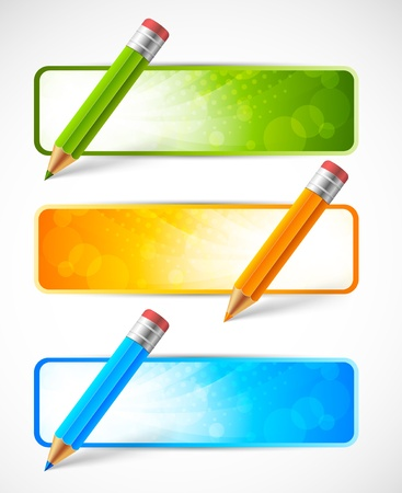 colour pencil: Set of banners with pencils