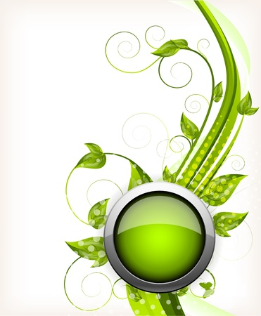 Abstract wavy background with green leaves and button photo