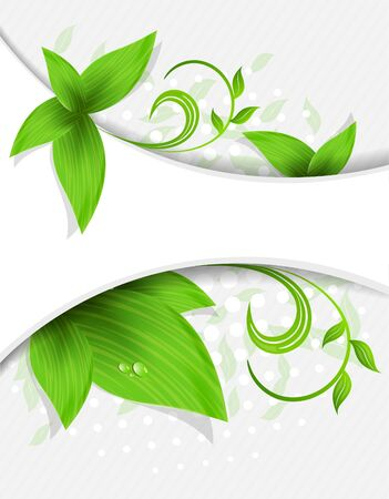 biologic: Abstract background with green leaves and lines
