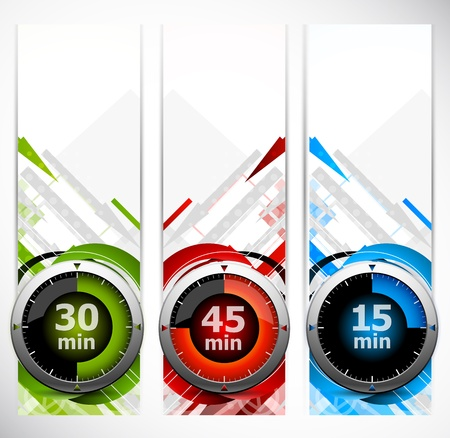 stop watch: Set of color banners with three timers