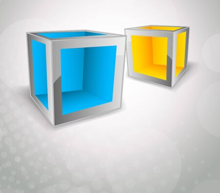 Bright background with two color cubes photo