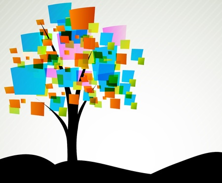 Background with abstract tree with color square photo