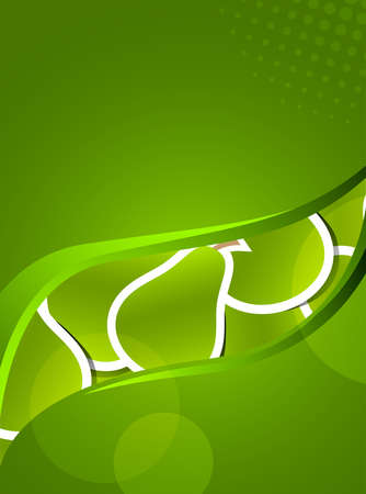 Green pears concept background with wavy line photo