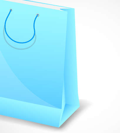 Bright background with one blue shopping bag photo
