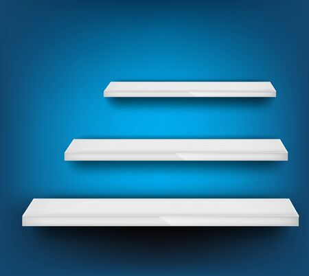 Blue background with three different white shelf Stock Photo - 12726426