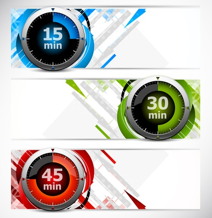 Set of color banners with three timers Stock Photo - 12726478