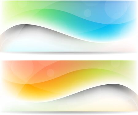 Abstract color set of banners with waves photo
