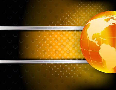 Dark abstract tech background with orange globe photo
