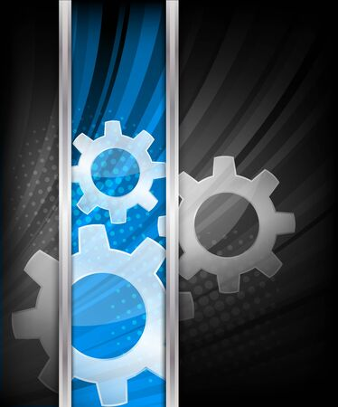Background with three gears and blue line photo