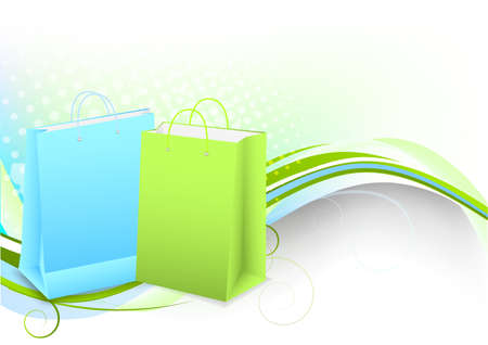 Bright background with shopping bag and waves photo