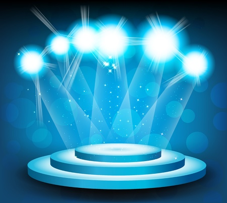 famous star: Blue background with round stage and light