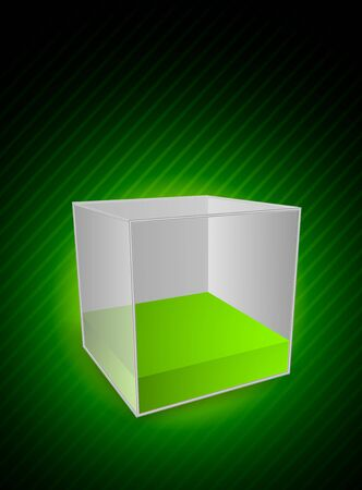 Dark modern background with green 3d cube photo
