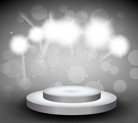 effects of lighting: Grey background with round stage and light