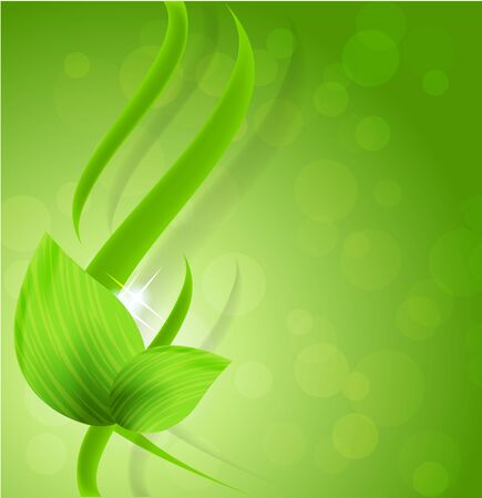 Abstract bright green design with leaves and waves photo