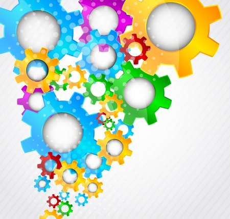 Abstract background with colorful gears and light Stock Photo - 12723416