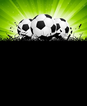 Background with soccer balls and green rays photo