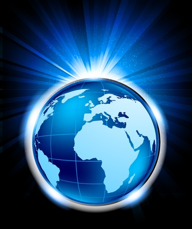 Bright blue background with globe and lights photo