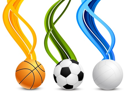 volleyball team: Set of color banners with three balls