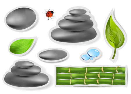 Set spa sticker with stones and leaves photo