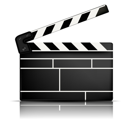 action movie: White background with one black movie clapper