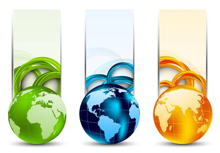 Set of banners with globes and circles photo