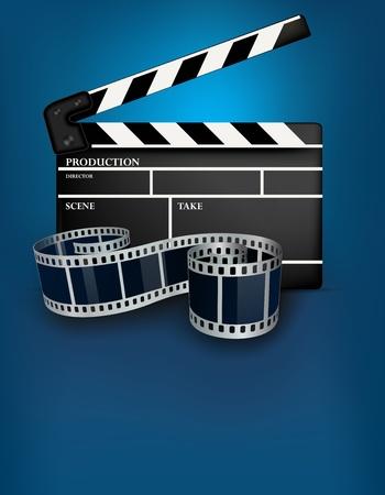 Blue cinema achtergrond met zwarte film klepel Stockfoto