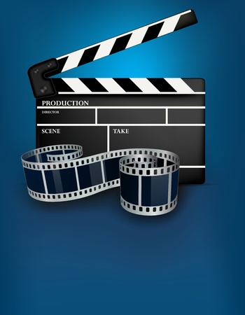 movie film: Blue cinema background with black movie clapper Stock Photo
