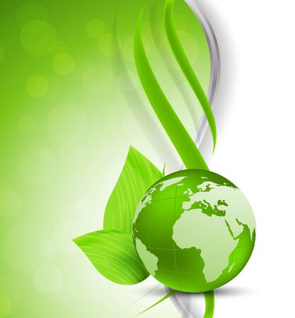 environmental conservation: Bright green background with globe and leaves