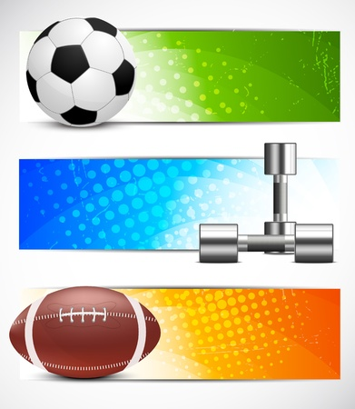 Set of color banners with sports goods photo