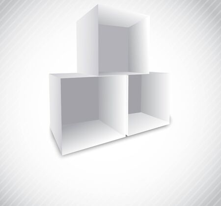 white shelf: Bright background with empty cube and lines