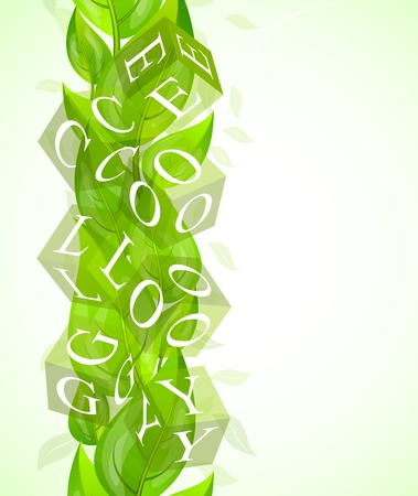 Ecology concept with green leaves and cube photo