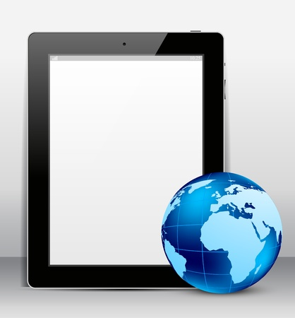 Background with tablet pc and blue globe photo