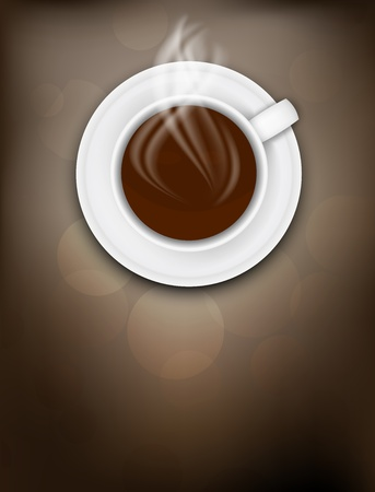 Dark background with coffee cup and steam photo