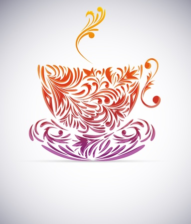 Cup of coffee with floral design elements Stock Photo - 12913441