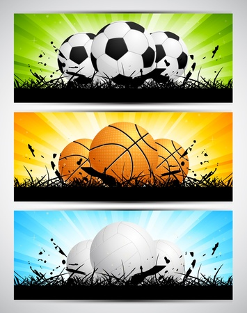 Color set of sport banners with balls photo