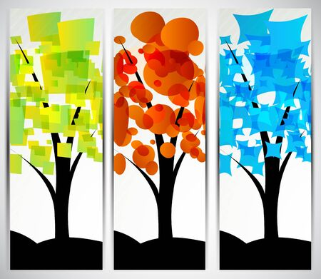 Set of color banners with abstract tree Stock Photo - 12913411
