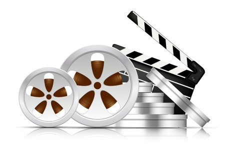Bright cinema background with stack of film reel photo
