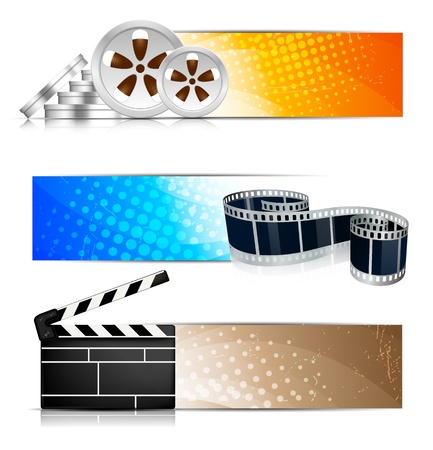 gray strip: Set of color banners with cinema element