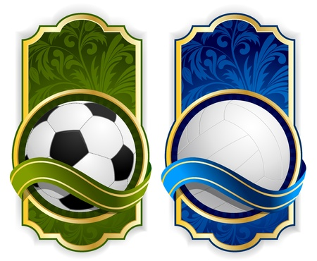 Bright background with sport label and balls photo