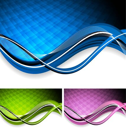 Bright color tech background with waves photo