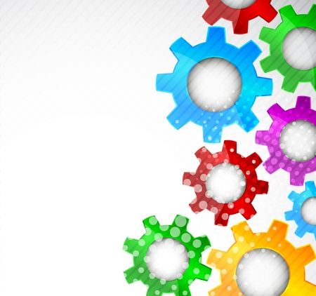 Bright background with color gears and circle Stock Photo - 13044490