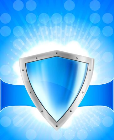 blue shield: Blue background with bright silver steel shield