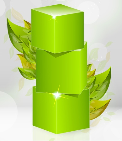 Bright background with green cubes and leaves photo