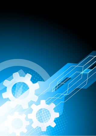 Bright blue tech background with gears photo