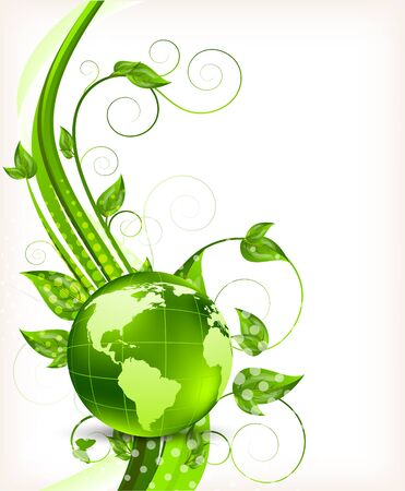 biologic: Bright background with green leaves and globe