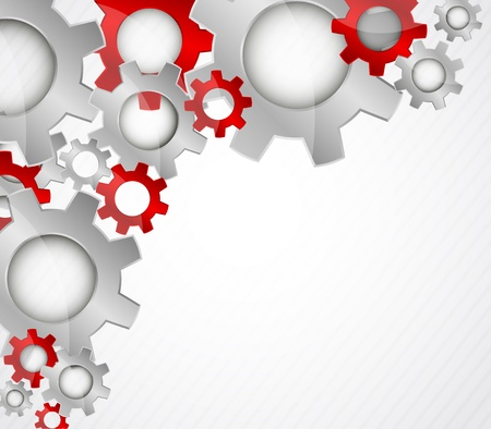 gray strip: Bright color tech background with gears