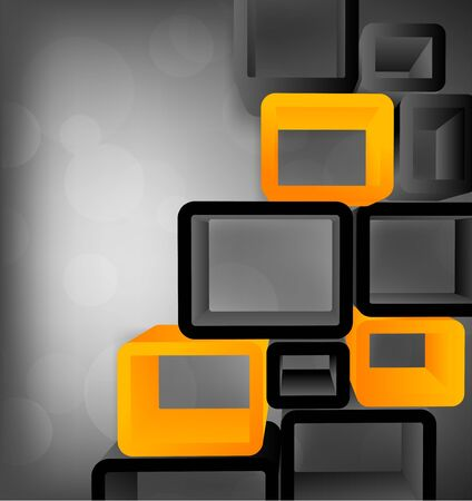 Bright grey tech background with 3d cubes photo